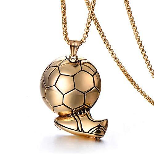 XinLuMing Collar de fútbol WM de Acero Inoxidable con Estilo Simple Titanio Acero Deporte Hombres Colgante joyería (Color : Gold)