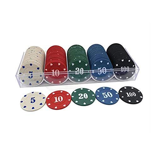 RKRXDH 100pcs La Ficha De Póker Poker Set Acrílico Fichas De Casino Juego De Chips Caso con Fundas Partido del Casino De La Ficha De Póker Caja De Chips De Tarjetas De Skate (Color : Poker Chip Set)