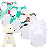 Frienda 4 Pieces Solid White Pet T-Shirts Polyester Sublimation Blank Dog T-Shirts Sleeveless DIY Puppy Vest Pet Heat Transfer Dog Apparel for Dogs Puppy Cats (M)