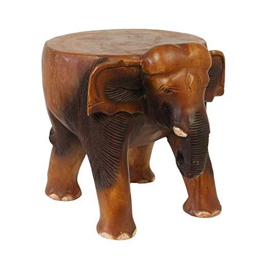 Oriental Galerie Rundhocker Holzhocker Elefanthocker Blumehocker Elefant Hocker ca. 28cm hoch ca 29 x 25 cm Durchmesser Holz Limboholz Braun Mittel