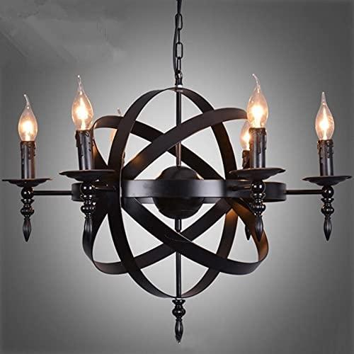 Candelabro de velas de seis lámparas Candelabro de estilo shabby chic rural europeo y americano Candelabro de hierro forjado Sala de estar Dormitorio Restaurante mediano francés Accesorios para lámpar
