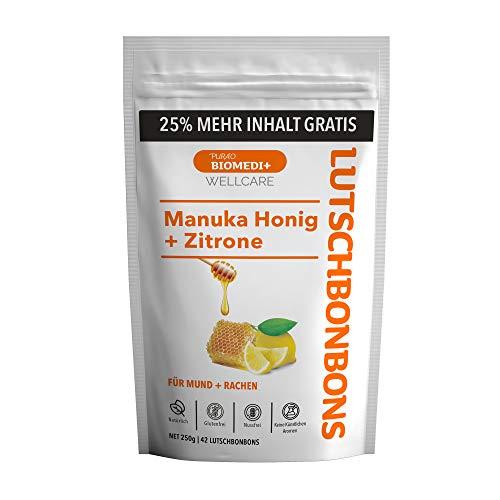Purao Biomedi+ Manuka Honig Bonbons mit Manuka Honig + Zitronen bonbons (250 g) im wiederverschließbarend 25% mehr - wohltuend für Mund und Hals, 42 Mann ZIP Beutel