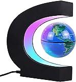 JOWHOL Globo terráqueo magnético con luz LED, rotación automática, ilumina el mundo de los niños, hombres, decoración del hogar y la oficina (azul)