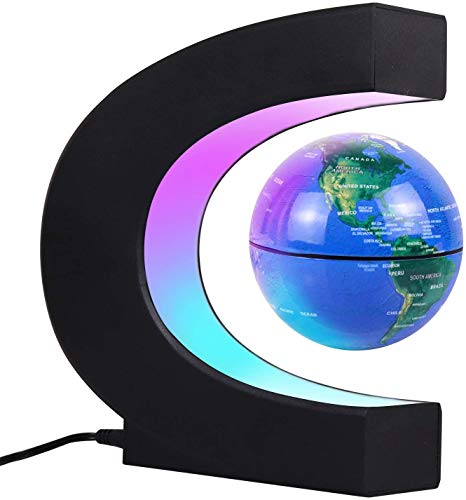 JOWHOL Magnetic Floating Globe with LED Lights, 24-Hours Auto-Rotating, Floating Globe, Perfect Cool Gift for Men, Kids, Home Office, Desk Decoration, Education Teaching Demo(Blue)