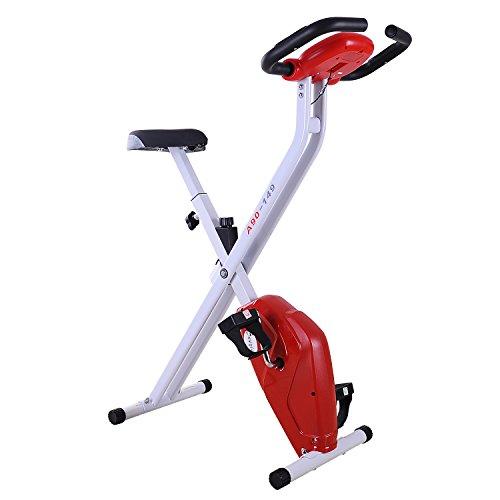 Homcom Bicicleta de Fitness Plegable Bicicleta Estática de Spinning Pantalla...