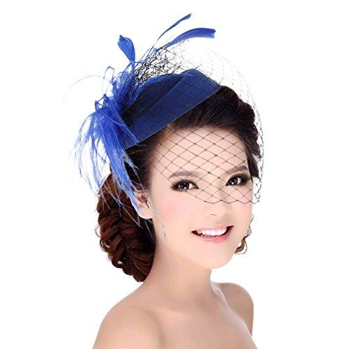 DEMU Damen Elegante Feder Fascinator Haarklammer Hochzeit Cocktail Netzschleier Mini-Hut Blau