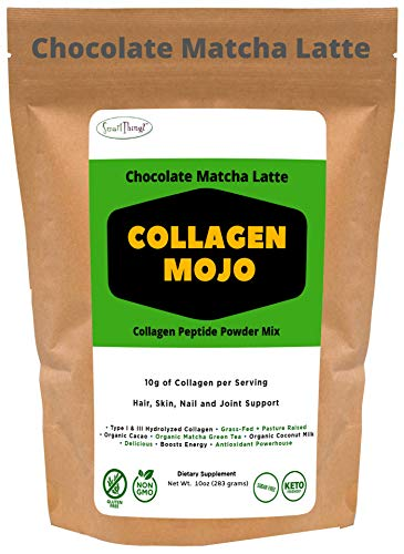 Collagen Peptides Powder – Chocolate Matcha Latte - with Organic Cacao and Matcha Green Tea. Keto & Low Carb Coffee Creamer, Pre Workout & Shakes - Hair/Skin/Nail/Joint Supplement - Collagen MOJO