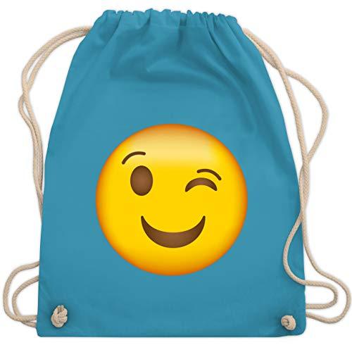 Comic Shirts - Zwinker Emoticon - Unisize - Hellblau - comic shirts rucksack - WM110 - Turnbeutel und Stoffbeutel aus Baumwolle