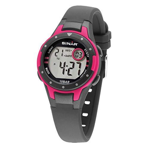 SINAR Mädchen-Armbanduhr Schwarzgrau pink Sportuhr Outdoor 10 bar wasserdicht Licht digital XE-52-8