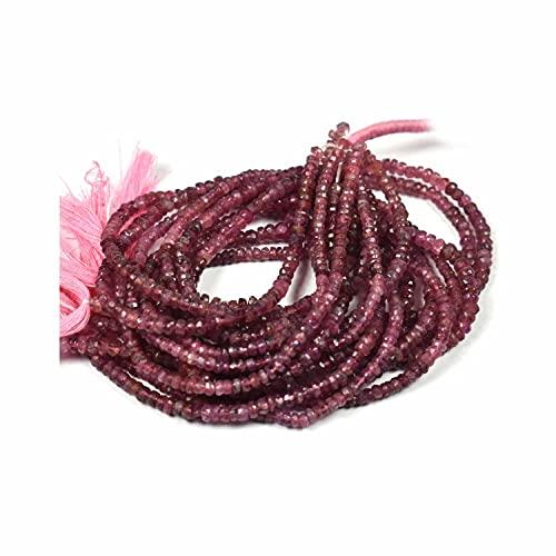 Crystallay 4-5 MM de Piedras Preciosas de Turmalina Rosa Natural, Cuentas Sueltas de Rondelle facetado para Hacer Joyas, 1 hebra de 13' Pulgadas