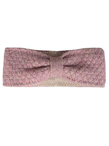 Zwillingsherz Stirnband mit Schleife - Hochwertiges Strick-Kopfband für Damen Frauen Mädchen - Mit Fleece - Wolle - Ohrenschutz - Haarband - warm und weich für Herbst Winter und Frühjahr altrosa