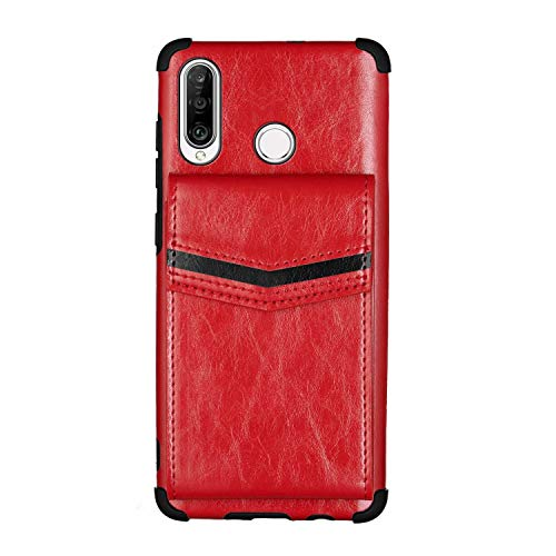 Nadoli Brieftasche Hülle für Huawei P30 Lite,Retro Kartenhalter PU Leder Stoßfest Zurück Bumper Cover Schnallen Geldbörse,Rot