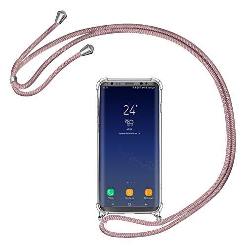 AROYI Handykette Handyhülle für Samsung Galaxy S8 Hülle mit Kordel zum Umhängen Necklace Hülle mit Band Schutzhülle Transparent Silikon Acryl Hülle für Samsung Galaxy S8 -Roségold