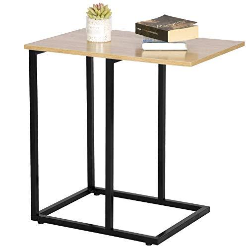 WOLTU Beistelltisch TSB66hei Kaffeetisch Couchtisch Sofatisch Nachttisch Betttisch Laptoptisch, Gestell aus Metall, Tischpltte aus Holz, 48x40x60cm(BxTxH), Hell Eiche