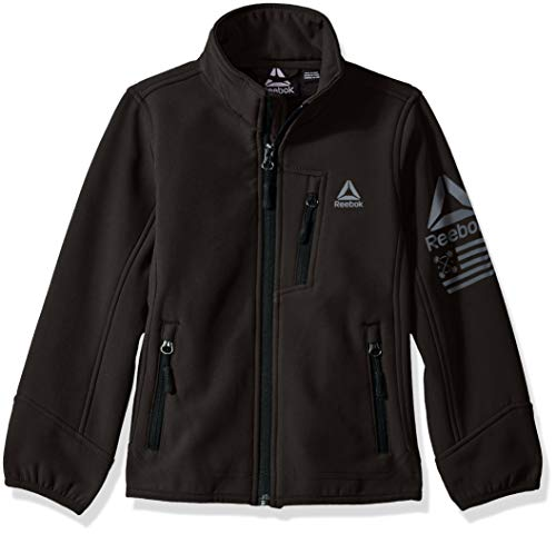 Reebok Boys' Toddler Active Softshell Jacket with Sleeve Detail, Black, 3T