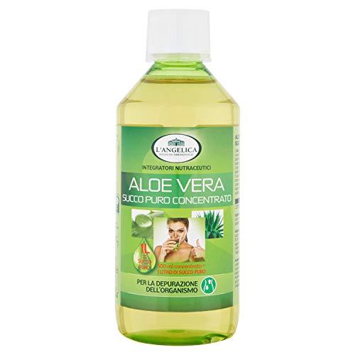 L'Angelica, Succo Puro Concentrato d'Aloe Vera, Aloe Vera da Bere, Integratore con Vitamina C e Vitamina E per la Depurazione dell'Organismo, Detox, Vegan, Formato: 500 ml