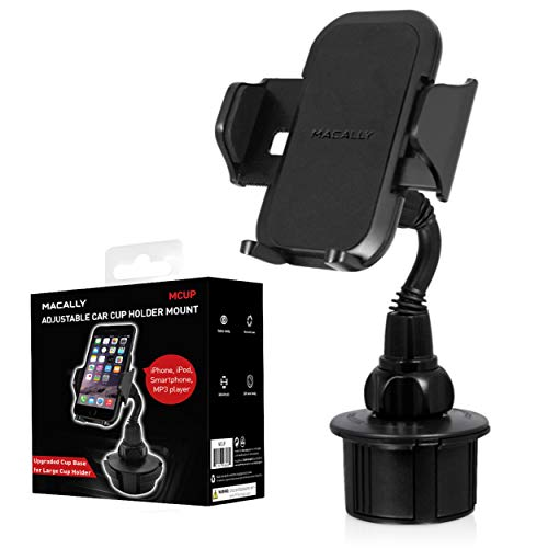 Macally Cup Phone Holder for Car Mount for Apple iPhone 11 Pro Max XS XS Max XR X 8 8+ 7 7 Plus 6s 6 5s SE, Samsung Galaxy S10 Plus S9 S8 Note, LG, Nexus, Google Pixel 3, Motorola, Smartphone (MCUP),Black