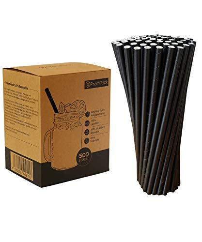 PremPack 500x Papierstrohhalme – Premium biologisch abbaubare extra große Jumbo Trinkhalme in Schwarz– hochwertig und robust durch 4-lagiges Papier – Geeignet für alle Anlässe (Schwarz, Jumbo)