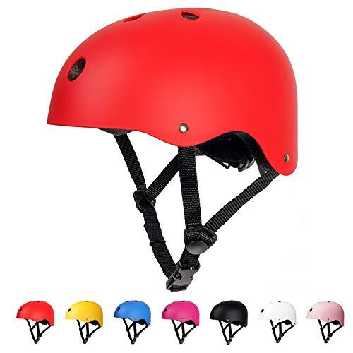 arteesol Fahrradhelm, Unisex Jugend Kinderhelm, Skaterhelm Verstellbar Fahrradhelm Rollerhelm, CE-Zertifizierung Schutzhelm für Kinder, BMX Skateboard Fahrrad Scooter (Rot helmei)