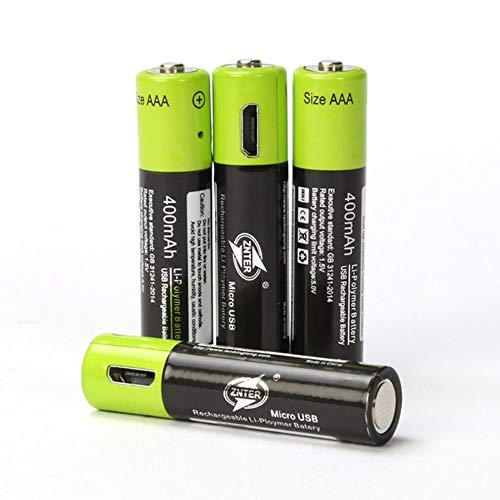 ZNTER Ultra-Efficient AAA 1.5V 400mA USB Rechargeable Lithium Polymer Batteryblack/green(black/green)