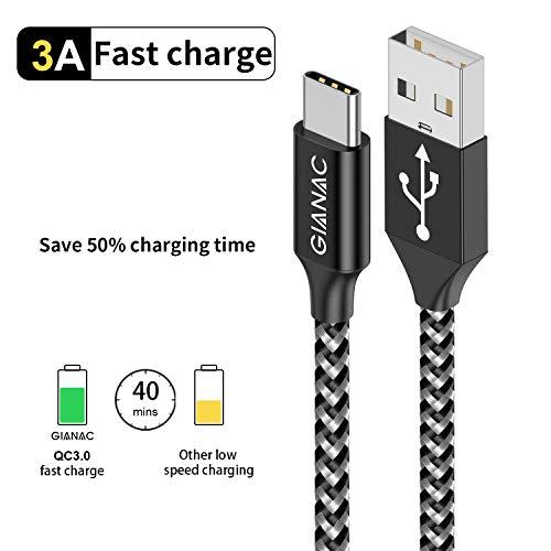 GIANAC USB C Kabel, [5Pack 0.25M 0.5M 1M 2M 3M ] 3A Typ C Kabel Nylon USB C Ladekabel und Datenkabel Fast Charge Sync schnellladekabel für Samsung S10/S9/S8+,Huawei P30/P20/P10,Google Pixel