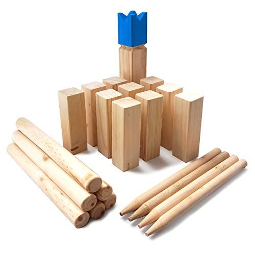 Ocean 5 Kubb Royal - Original Wikinger Wurfspiel - Premium FSC® Holzspiel im Stoffbeutel mit massiven Figuren - Schwedenschach Holz Outdoor Spiel Wurf Schach Spiele