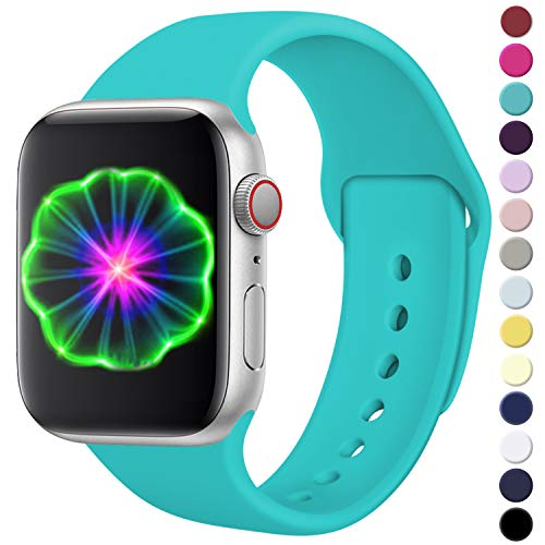 Laffav Compatible with Apple Watch Band 42mm 44mm, for Women Men, Silicone Sport Replacement Band Compatible with Apple Watch Series5/4/3/2/1, Small/Medium, Teal