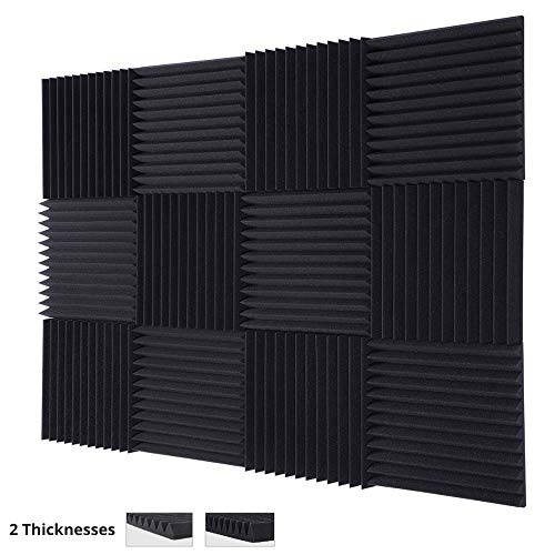 "TRUE NORTH Acoustic Foam Panels (1"" or 2"" Thick) 12 Pack – Acoustic Panels, Sound Proof Padding, Sound Proof Foam Panels, Soundproofing Foam Panel, Studio Foam, Soundproof Foam, Acoustic Panel"