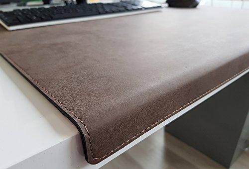 Gewinkelte Schreibtischunterlage mit Kantenschutz Nubuk Leder 60 x 38 Braun