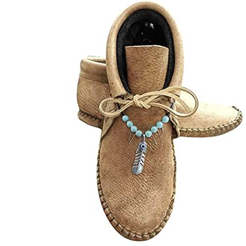 Binggong Botines para mujer, redondos, planos, estilo vintage, con forro, cálidos, cortos, de vaquero, cómodos, para el tiempo libre, para el invierno
