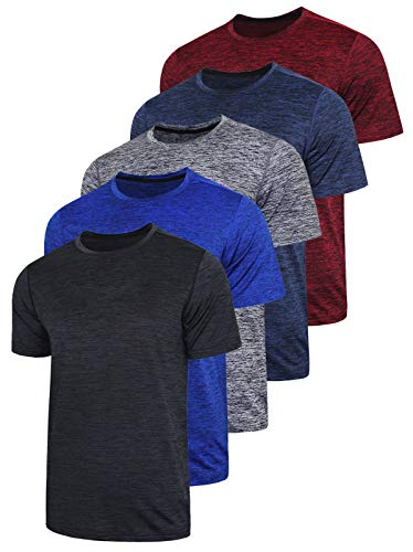 5 Pack Men's Active Quick Dry Crew Neck T Shirts - Athletic Running Gym Workout Short Sleeve Tee Tops Bulk (Edition 1, Large)