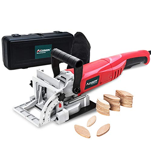 """AOBEN 8.5 Amp Biscuit Cutter Plate Joiner with No. 0 Wood(30 Pcs)No. 10 Wood(30 Pcs)No. 20 Wood(50 Pcs), 4"""" Tungsten Carbide Tipped Blade, Adjustable Angle and Dust Bag"""