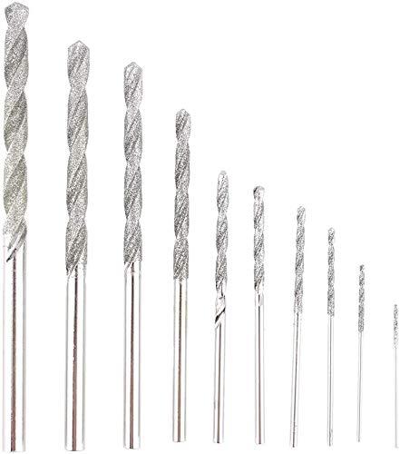 Set di 10 punte da trapano con punta diamantata da 0,8 mm a 4 mm, per gioielli, piastrelle, pietra.