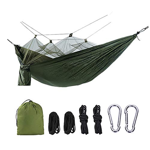 Fusmaker 2 Personne Jungle Hamac avec Moustiquaire, Bar Mosquito Portable Longe Extérieur Dormir Hamac Balançoire Lit Suspendu Vert Lit pour Camping Randonnée (260 * 140)