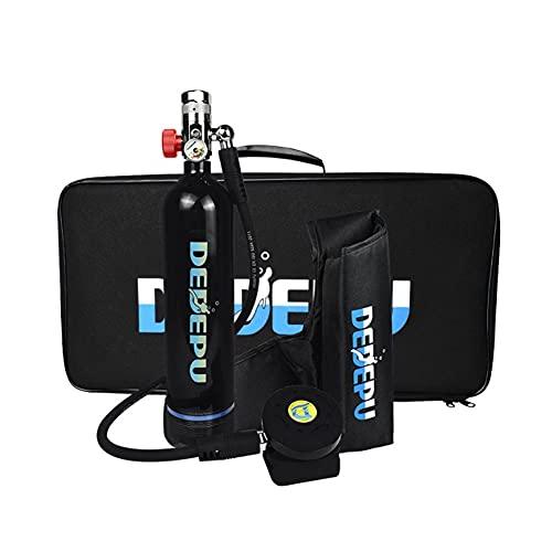 Lixibei Mini Cilindro de OxíGeno de Buceo, 1L Equipo Bombona Oxigeno Portatil Kit de Tanque de Buceo con Inflador Tanque de RespiracióN SubacuáTica con Capacidad de 20-25 Minutos,Negro