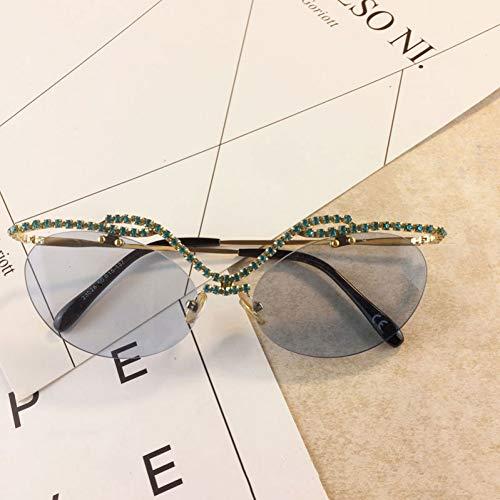 YIERJIU Gafas de Sol Mujeres Hombres Gafas de Sol de Verano de Lujo Gafas de Sol de Color sólido Gafas de Diamante Nuevo diseñador Salvaje Novedad Gafas de Sol de Diamantes de imitación,G