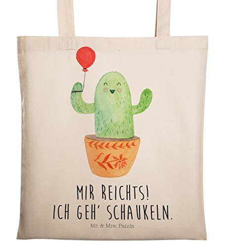 Mr. & Mrs. Panda Beutel, Shopper, Tragetasche Kaktus Luftballon mit Spruch - Farbe Transparent
