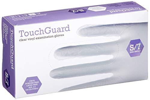 Guantes de vinilo transparentes desechables sin polvos peque/ños TouchGuard caja de 100 unidades