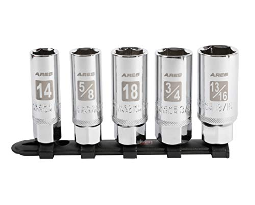 ARES 11007-5-Piece High Visibility 3/8-Inch Drive SAE & Metric Spark Plug Socket Set - Heat Treated CR-V Steel Mirror...