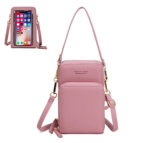 Phoetya Touch Screen Mobile Phone Bag,Crossbody Phone Bag with Clear Window Small Leather Bags,Multifunctional Phone Pouch Bag for Phone with Cards Slots(Pink)