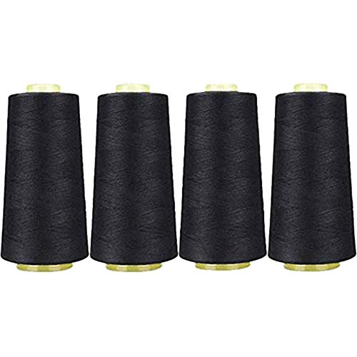 New IUaih4vv6 4Pcs Sewing Thread, Black and White High-strength Sewing Thread, 3000 Yards Hemming Co...