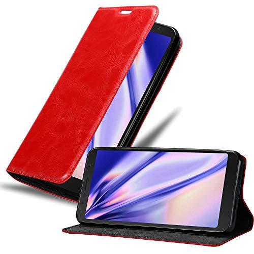 Cadorabo Hülle für Alcatel 3C in Apfel ROT – Handyhülle mit Magnetverschluss, Standfunktion & Kartenfach – Hülle Cover Schutzhülle Etui Tasche Book Klapp Style
