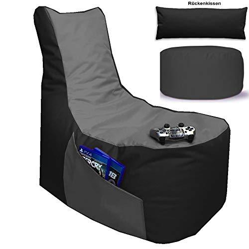 Sitzsack 3er Set Big Gamer Sessel mit EPS Sytropor Füllung - Rückenkissen - Hocker Sitzsäcke Sessel Kissen Sofa Sitzkissen Bodenkissen (Big Gamer Sitzsack 3er Set 2-farbig, Schwarz - Grau)