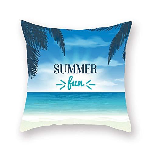 LIFUQING Funda De Almohada Palm Tree Hello Summer Scenery Impresión De Gama Alta Square Zipper Pillow Pillowcase Funda de cojín 17.7 x 17.7 Pulgadas