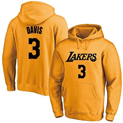 YUUY Jerséis con Capucha Los Angeles Lakers # 3 Anthony Davis-otoño Bolsillo Grande y cálido Entrenamiento de Invierno de Manga Larga Jersey de Baloncesto (Color : B1, Size : 3XL)