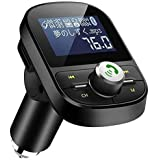 LEHXZJ FMトランスミッター Bluetooth5.0 高音質 ハンズフリー通話 microSDカード/USBメモリに対応 2 USBポート(5V/2.1A&1A)日本語メニュー EQ設定 4つ楽曲プレーモード 12V/24V車対応 日本周波数仕様 76.0~90.0Mhz 日本語説明書付き
