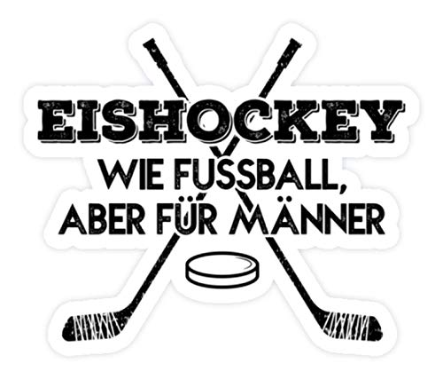 shirt-o-magic Aufkleber Eishockey: Für Männer - Sticker - 5x5cm - Weiß