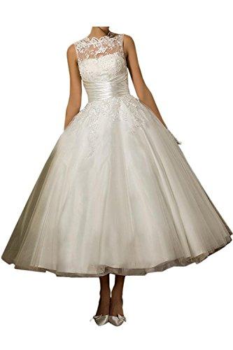 YASIOU Hochzeitskleid Brautkleid Vintage Kurz Weiß A Linie Spitze Tüll Prinzessin Hochzeitskleider