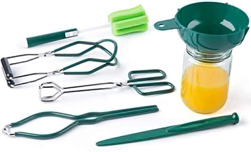 Eeoyu Canning Tool Kit - Plastic Canning Funnel, Jar Lifter, Sponge Cleaning Brush, Jar Wrench, Lid Lifter/Bubble Remover Tool, Tongs, for Canning Jars Mason Jars to Make Jam (Style A)