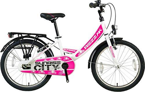 Rezzak 20 Zoll Kinder Fahrrad Mädchen Rad City Bike RH 33 Weiss Pink Neu-043
